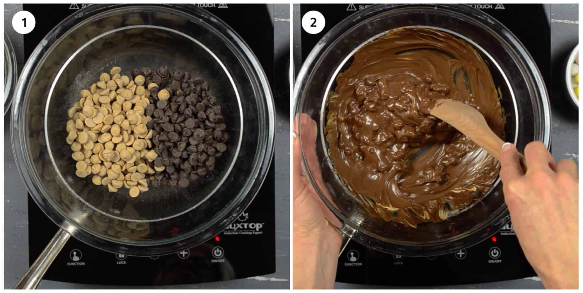 collage of 2 photos showing how to melt chocolate chips