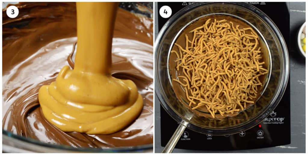 steps 3 & 4 of nest cookie instructions, peanut butter and chow mein