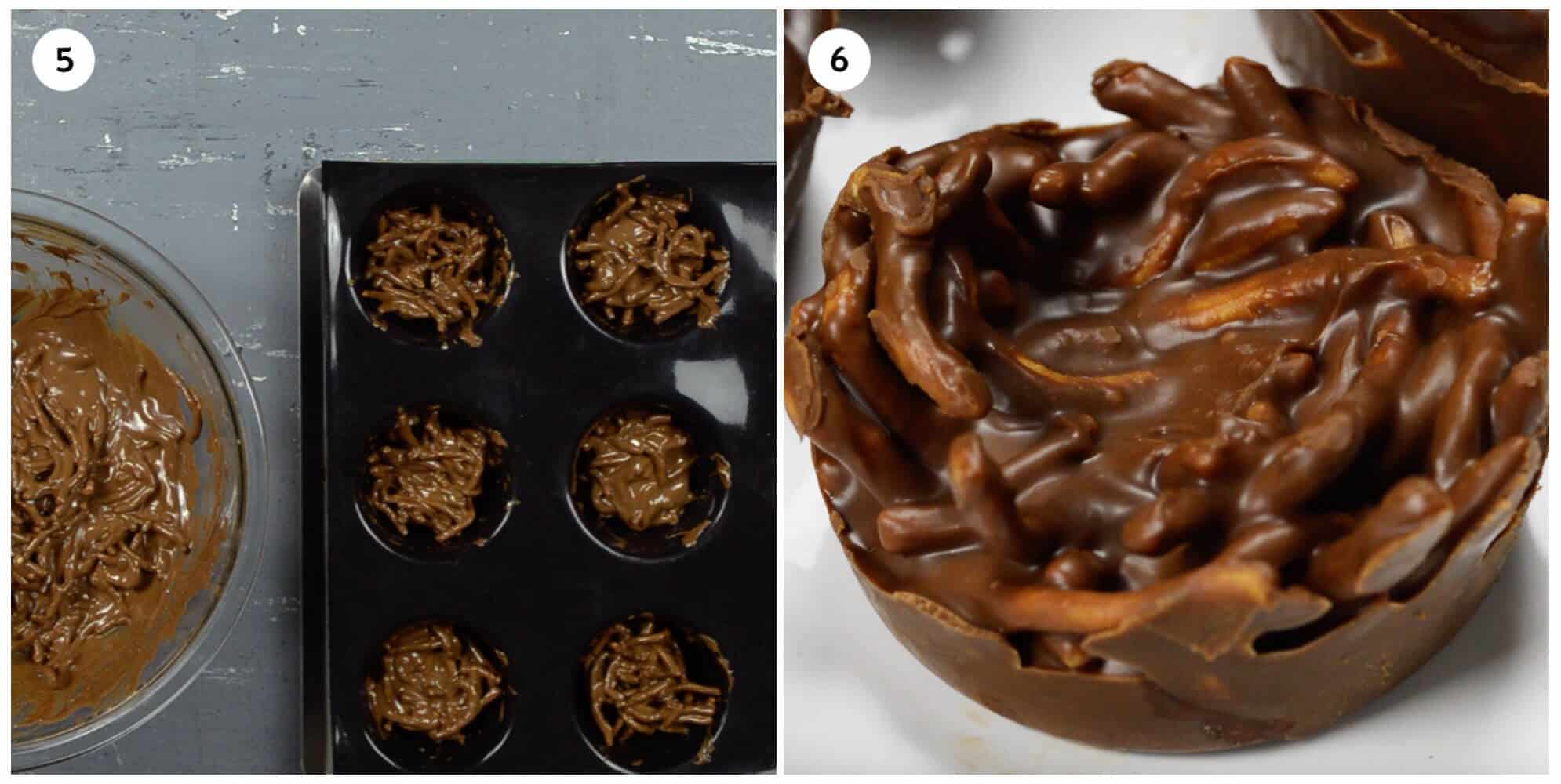 collage of 2 photos showing how to mold the birds nest cookies and the finished result.