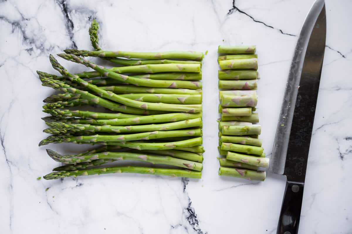 raw asparagus with tough ends cut off
