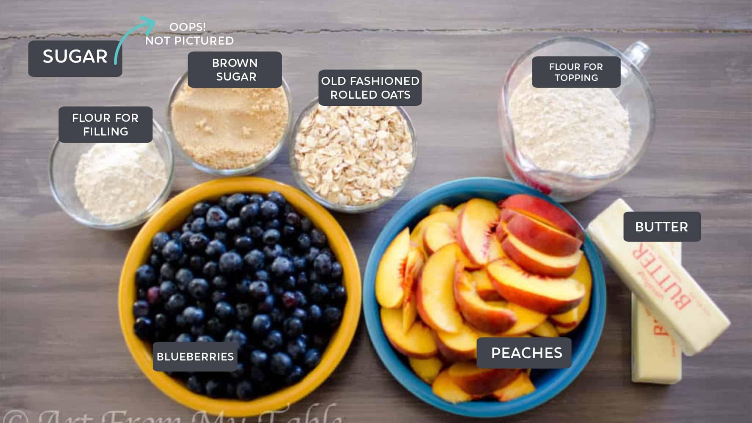 ingredients for blueberry peach crisp: blueberries, peaches, butter, flour, oats, brown sugar.