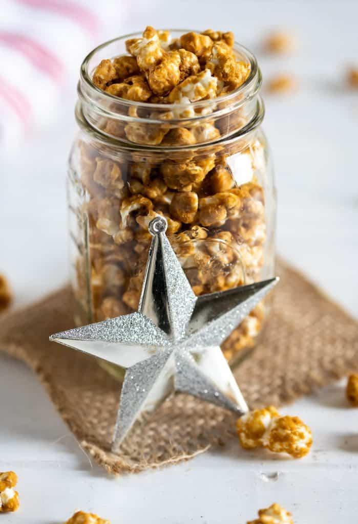 homemade caramel corn in a mason jar