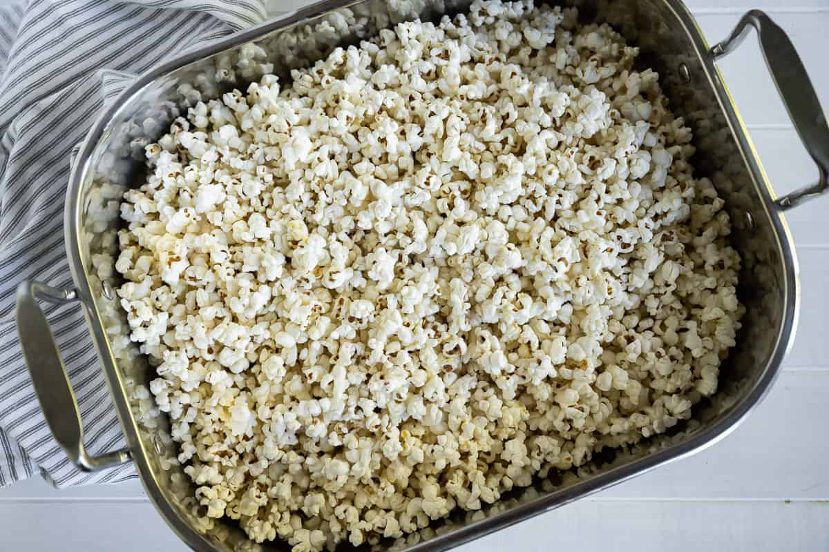 popcorn in a roasting pan