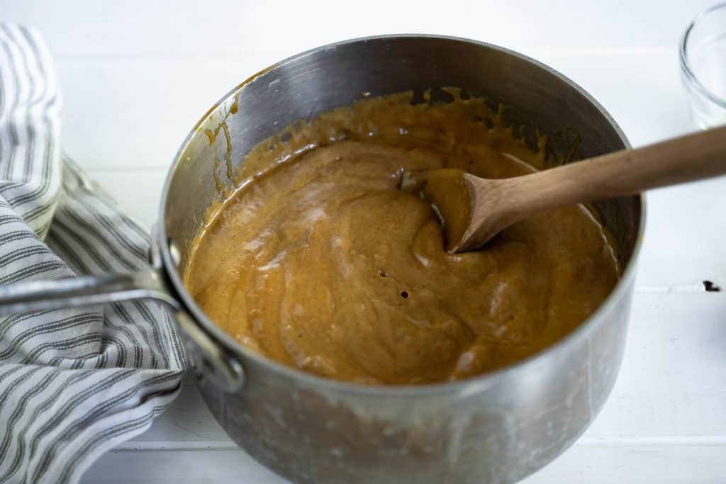 gingerbread caramel sauce foaming after adding baking soda