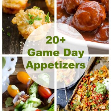 collage of 4 photos showing some game day appetizers: lobster mac and cheese bites, meatballs, salad skewers, nachos.