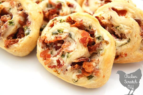 jalapeno and bacon pinwheels on a white plate