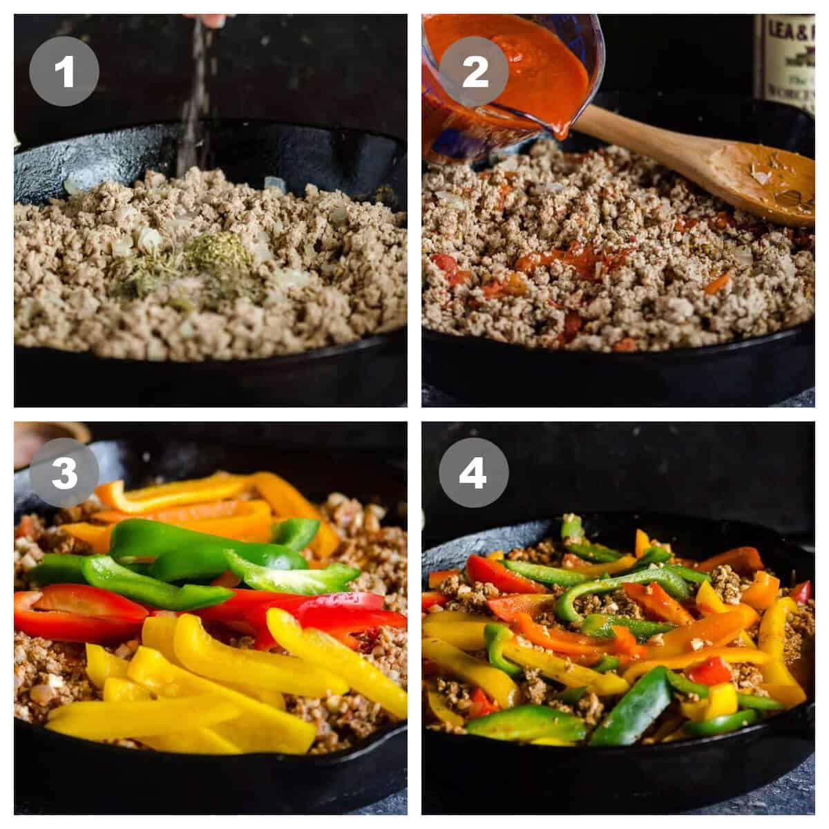 a collage of 4 photos showing steps to make unstuffed peppers; 1, browning meat/onions add spices; 2, adding sauce; 3, adding sliced peppers; 4, what it looks like after peppers are simmered.