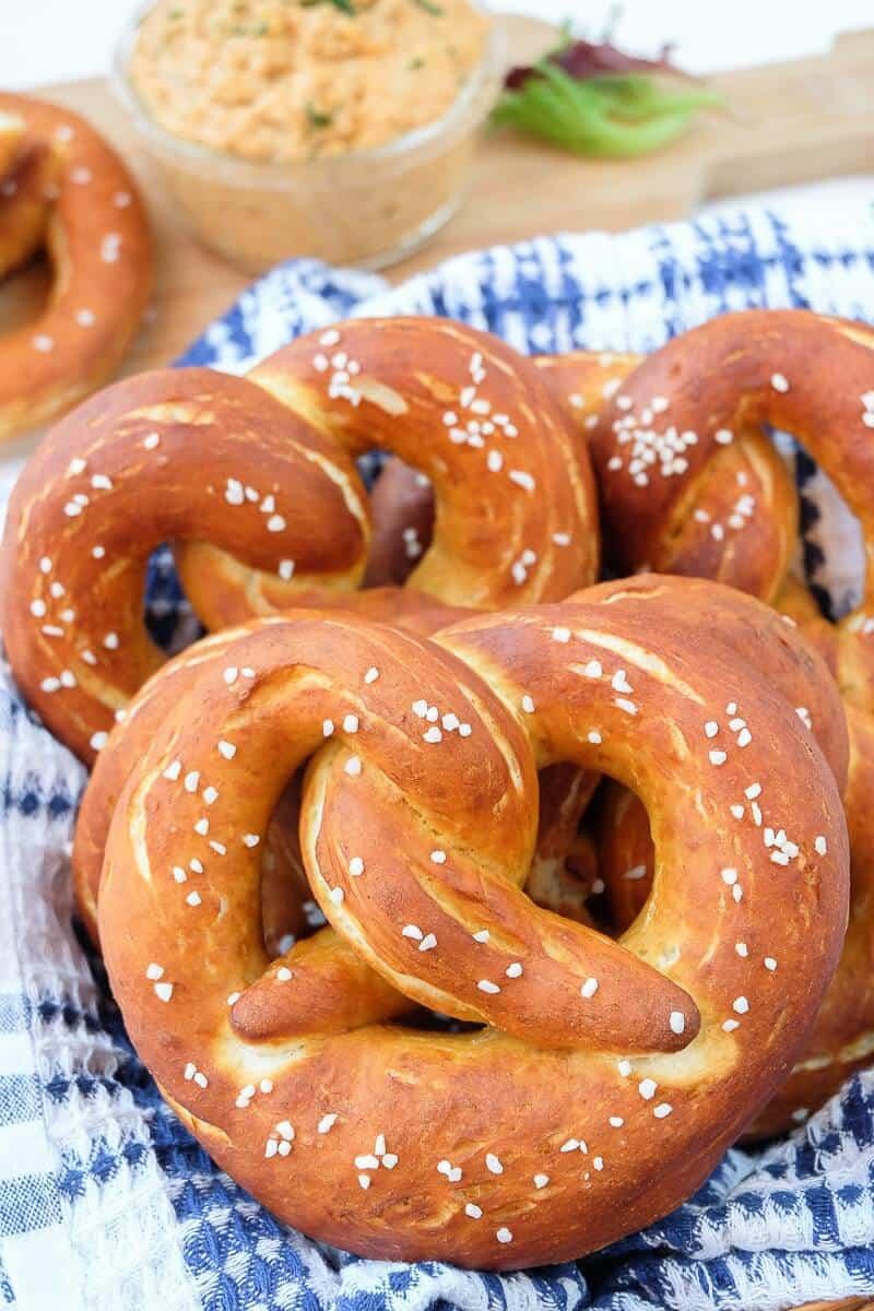 plate of German soft pretzels
