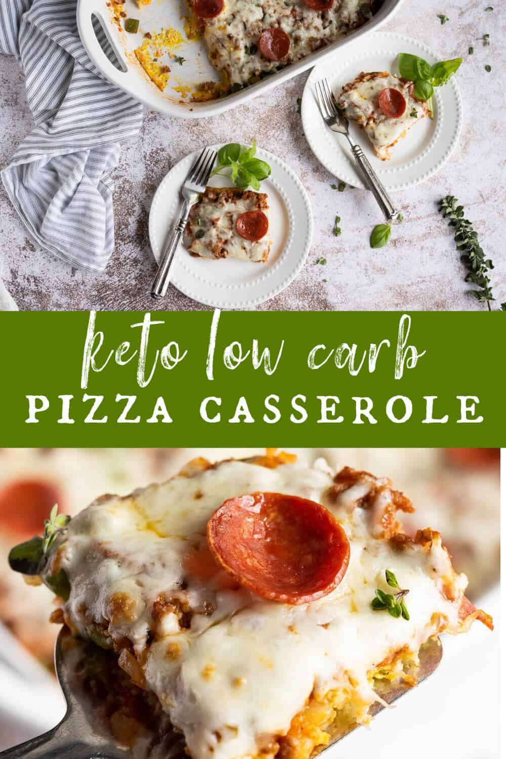 If you're eating low carb and missing pizza, This Low Carb Pizza Casserole is THE RECIPE for you! It's full of traditional pizza toppings and melty, gooey cheese, then baked in an easy casserole style. Welcome back Pizza Movie Nights! via @artfrommytable