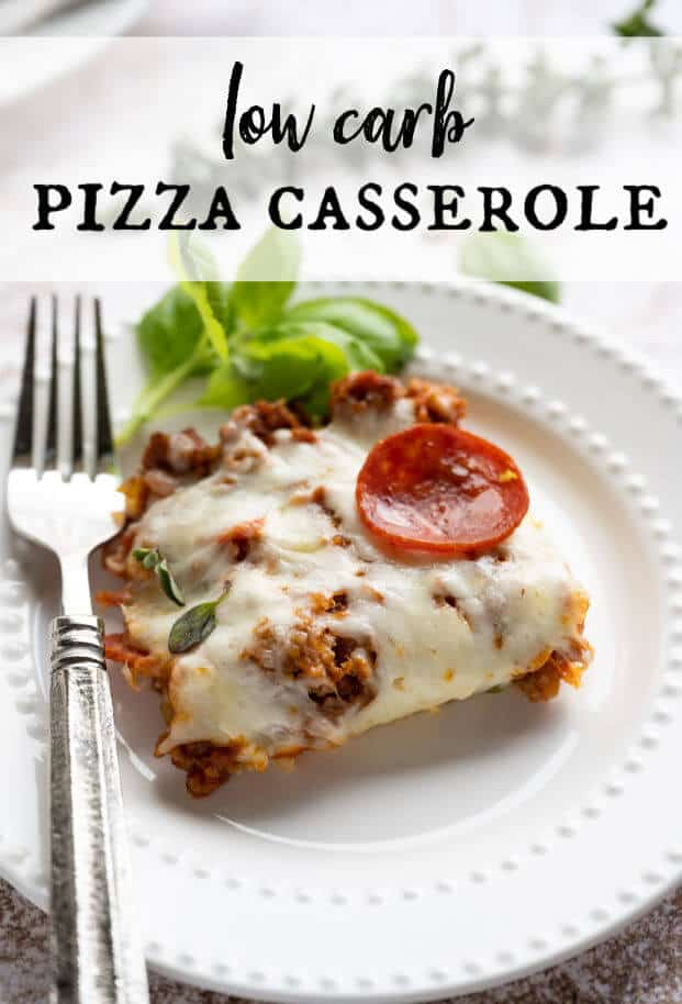If you're eating low carb and missing pizza, This Low Carb Pizza Casserole is THE RECIPE for you! It's full of traditional pizza toppings and melty, gooey cheese, then baked in an easy casserole style. Welcome back Pizza Movie Nights! #pizza #keto  via @artfrommytable