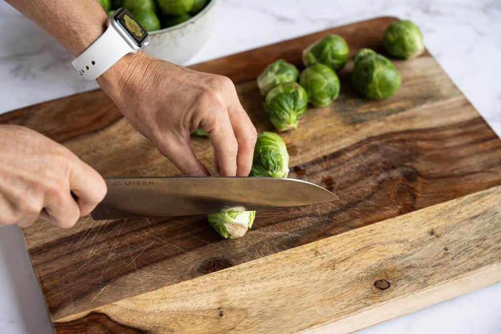 brussels sprout end being trimmed off
