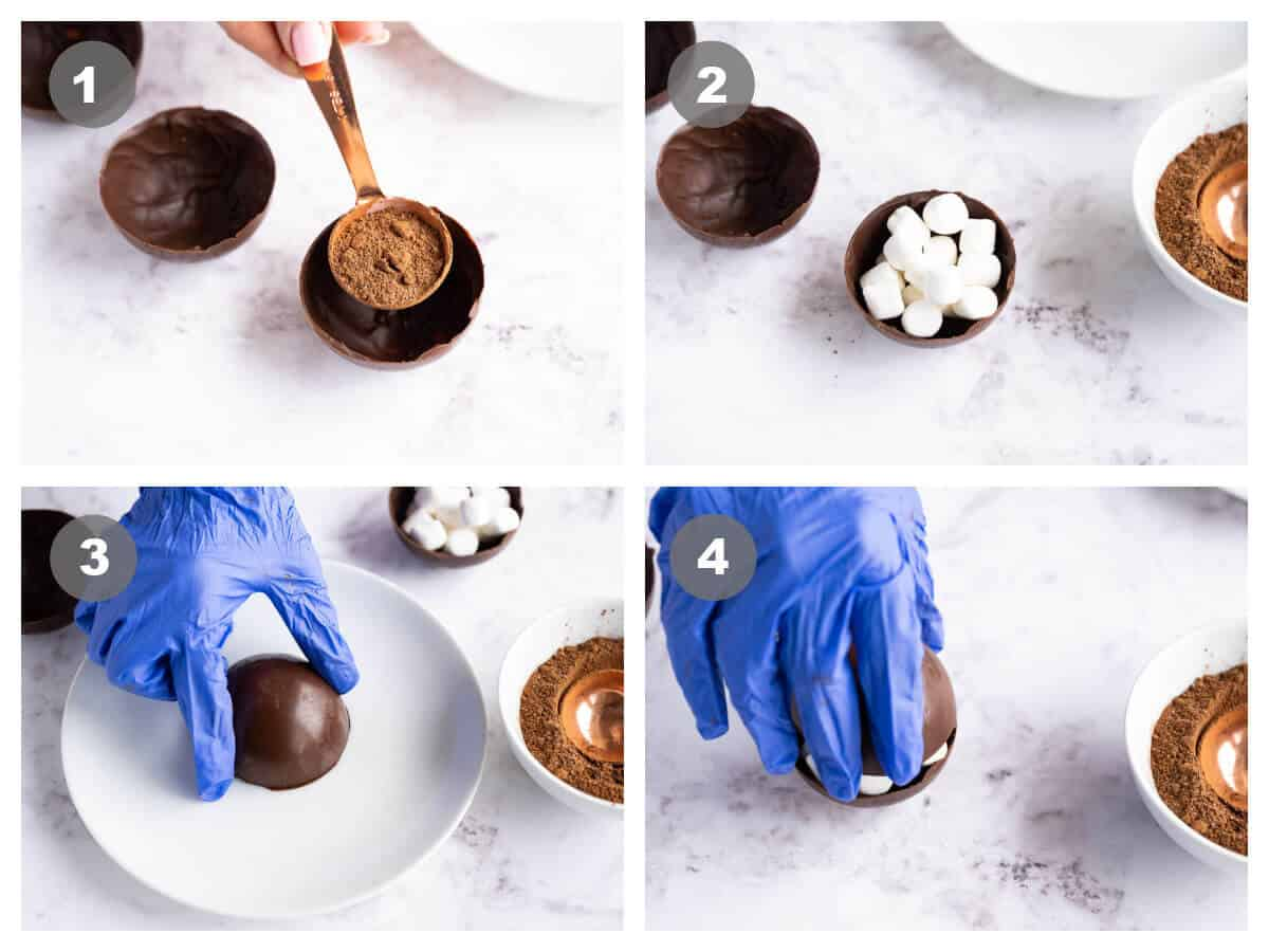 collage of 4 photos that show how to fill and seal hot cocoa bombs, add hot cocoa and marshmallows, melt edges, seal
