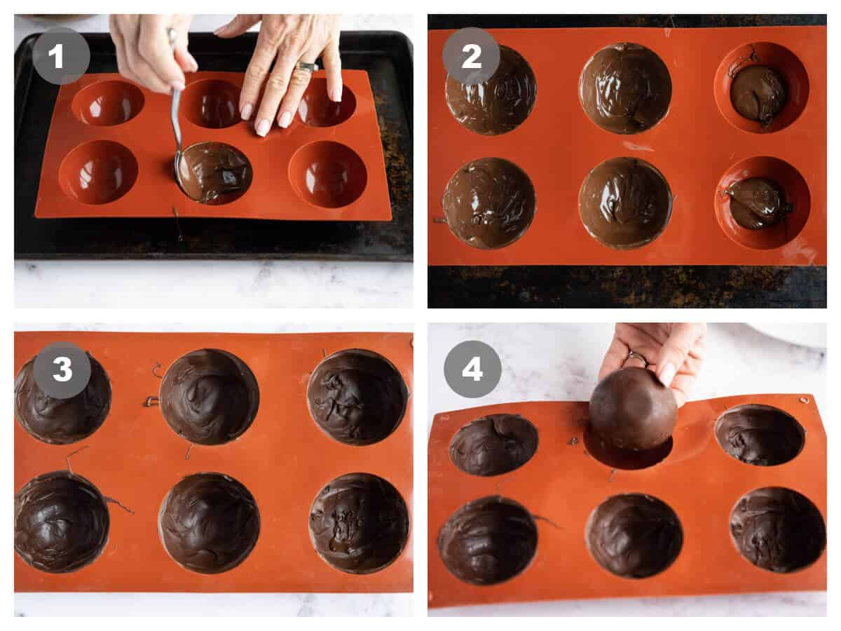 collage of 4 photos showing the steps to forming hot cocoa bombs in a silicone mold: fill, spread, set, remove.