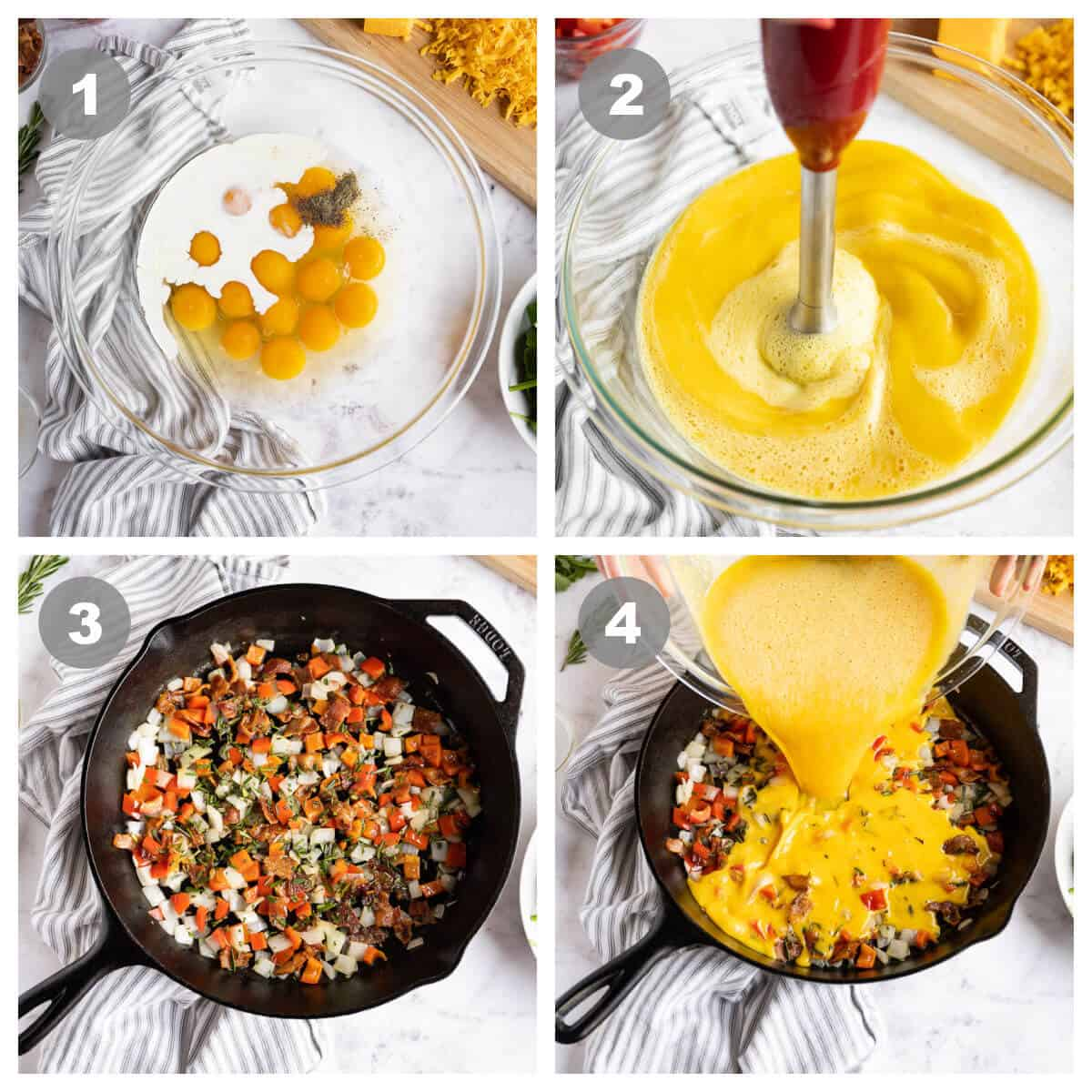 collage of 4 photos showing the first 4 steps to making a frittata