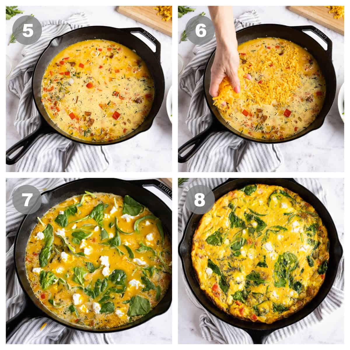 collage of 4 photos showing steps 5-8 of making a frittata