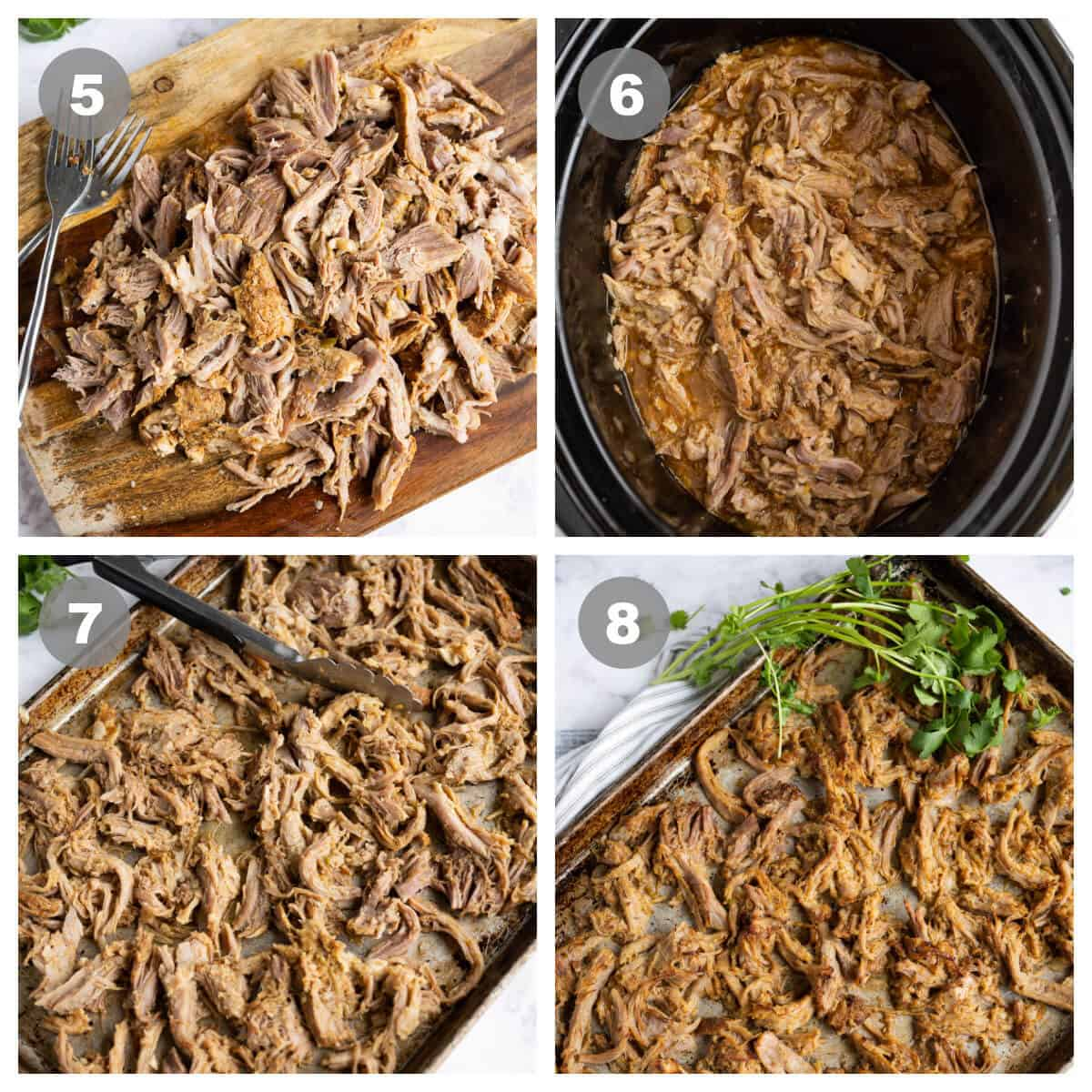 collage of 4 photos showing how to finish carnitas after slow cooking