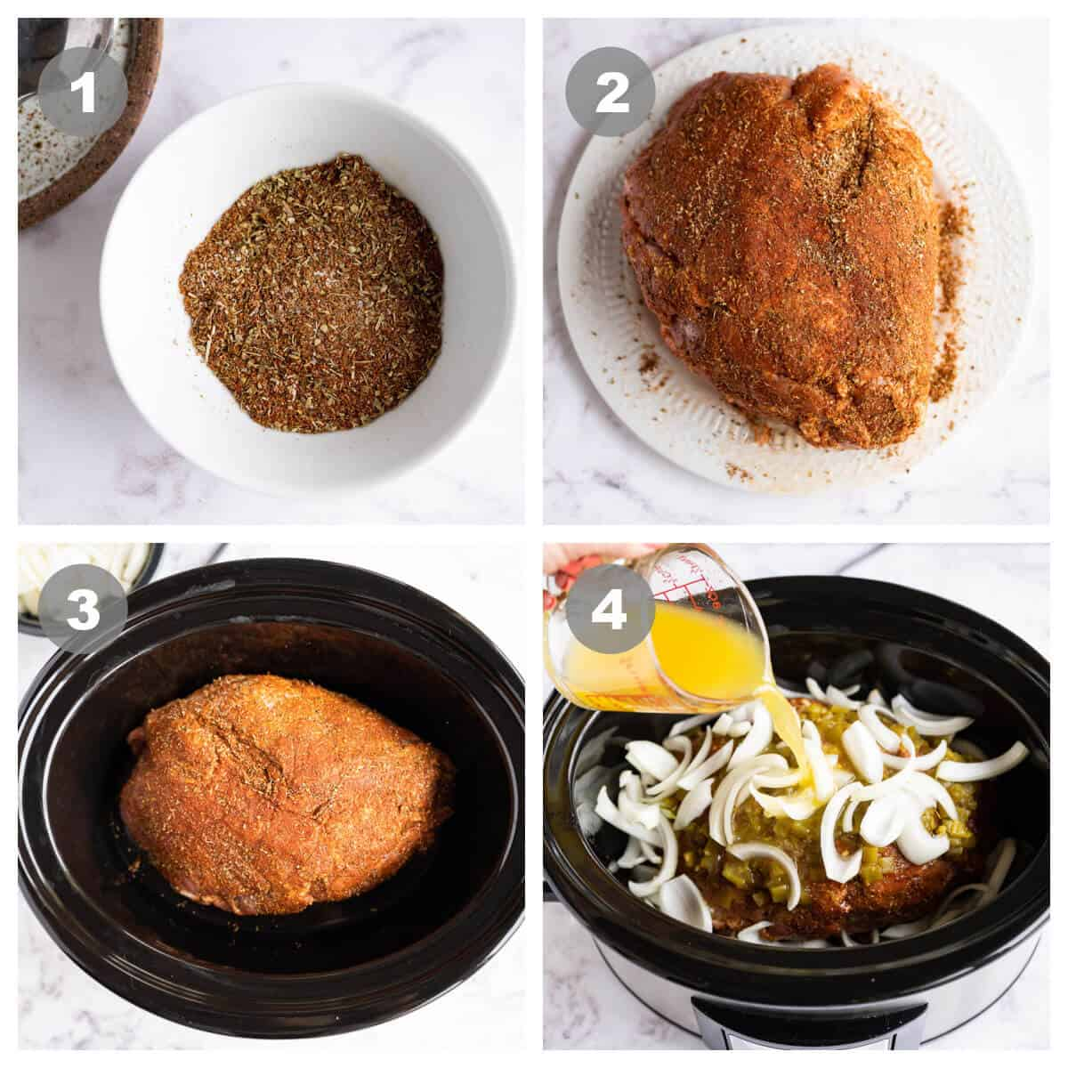 collage of 4 photos showing how to prepare pork for carnitas