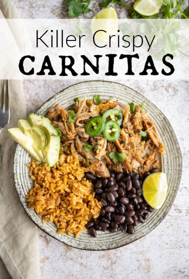 These are the easiest Carnitas you will ever make! Cooked low and slow in the Crockpot with delicious spices for the most tender meat and ultimate flavor! It's the perfect authentic Mexican dish for Cinco De Mayo, but you don't have to wait, make it anytime. There are so many ways to use this Mexican shredded pork. via @artfrommytable