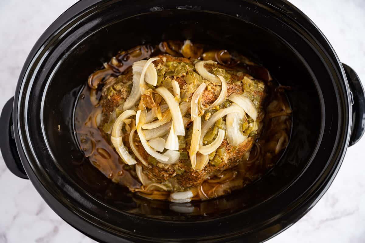 cooked pork shoulder in the crockpot after 10 hours
