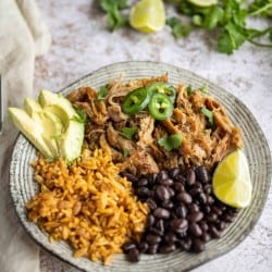 pork carnitas with rice and black beans, garnished with lime, avocado, and jalapenos