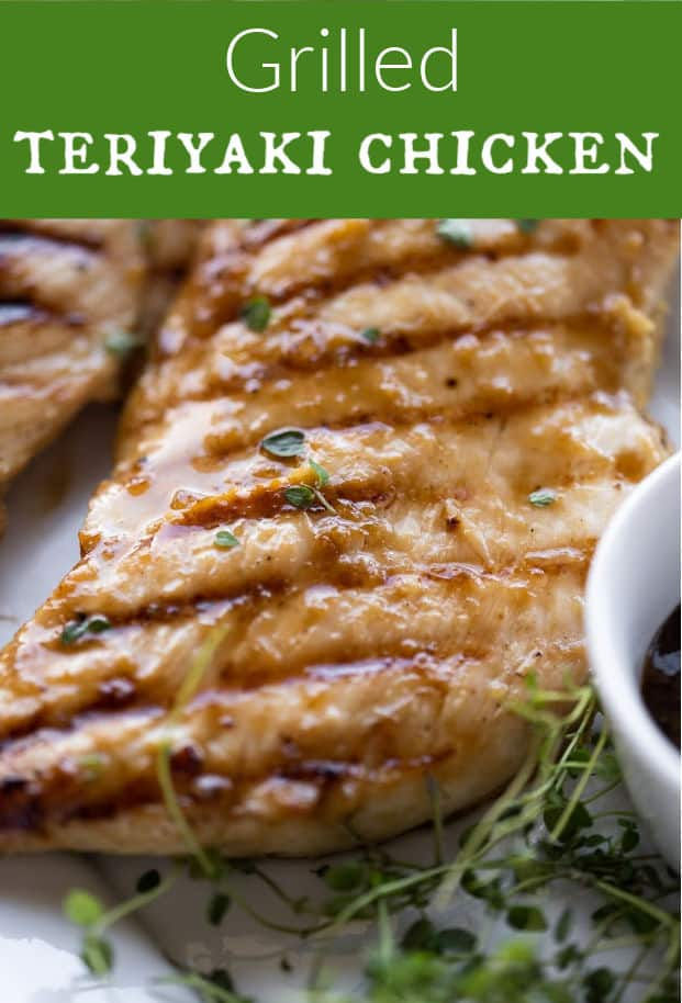 Get your grill on with this delicious grilled teriyaki chicken! There's just 5 ingredients in this marinade. Tender, juicy, chicken breast grilled to perfection! Everyone will love this easy chicken dinner! via @artfrommytable