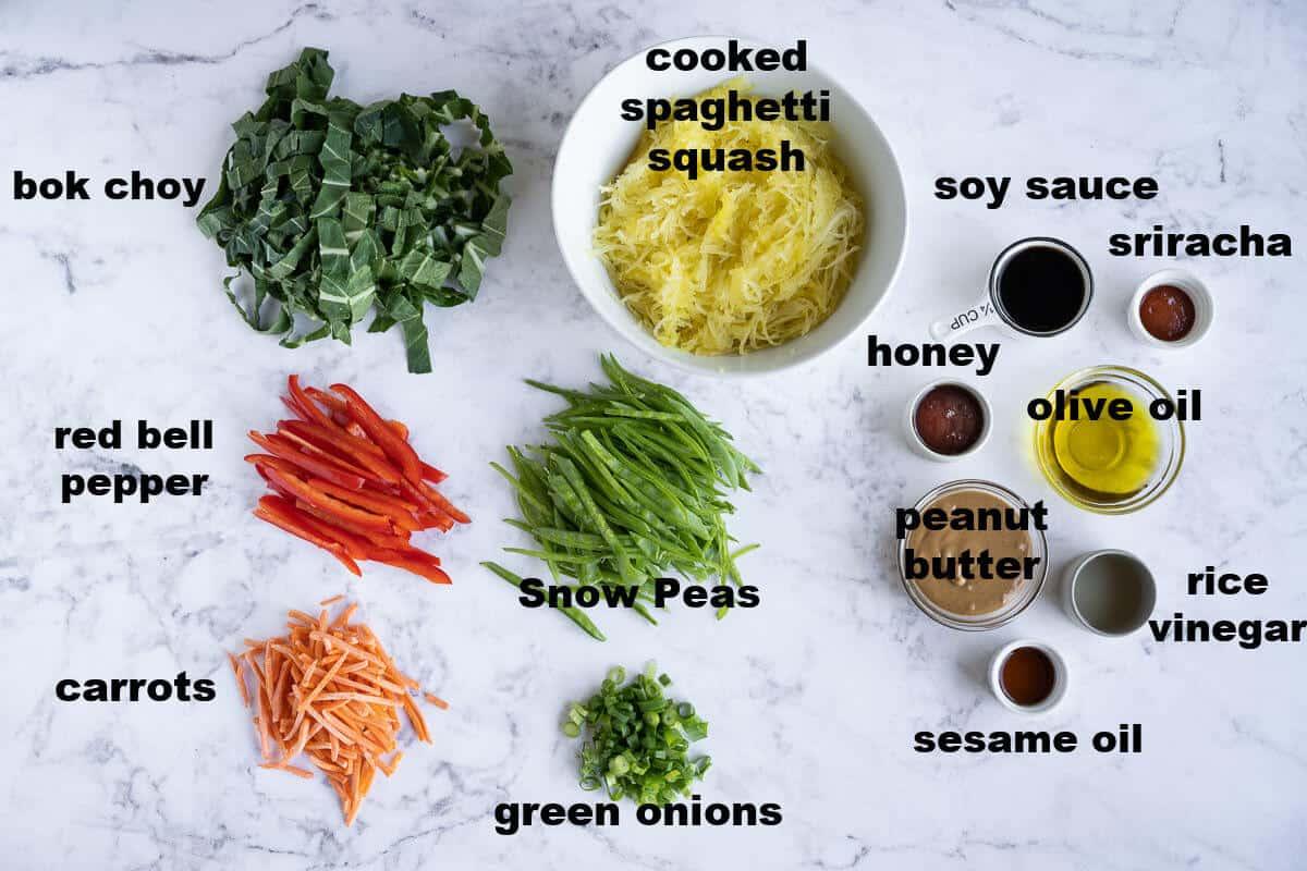 ingredients to make asian style spaghetti squash