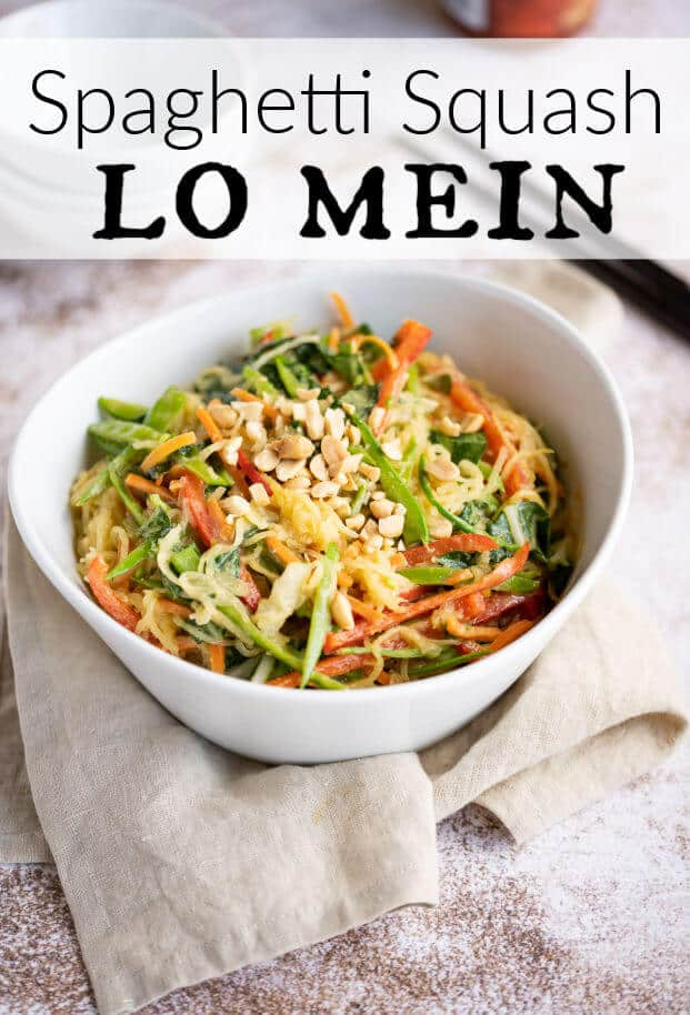 white bowl of low mein using spaghetti squash in place of traditional noodles via @artfrommytable