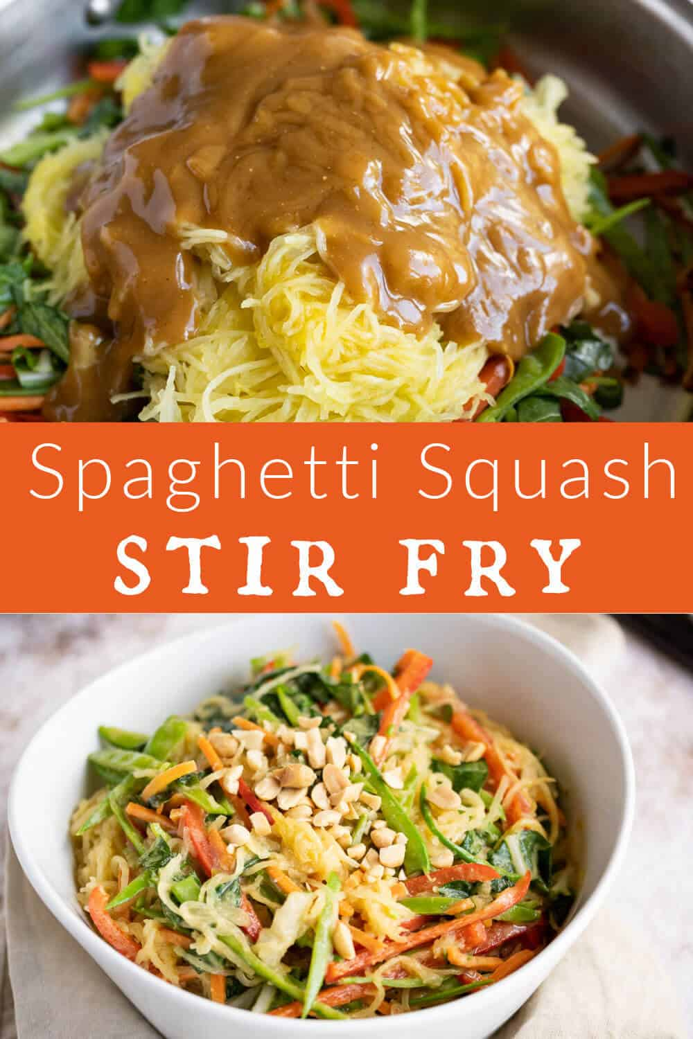 2 picture collage showing before and after of spaghetti squash stir fry. via @artfrommytable