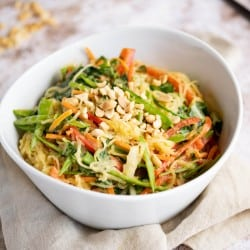 bowl of asian style spaghetti squash and Asian veggies