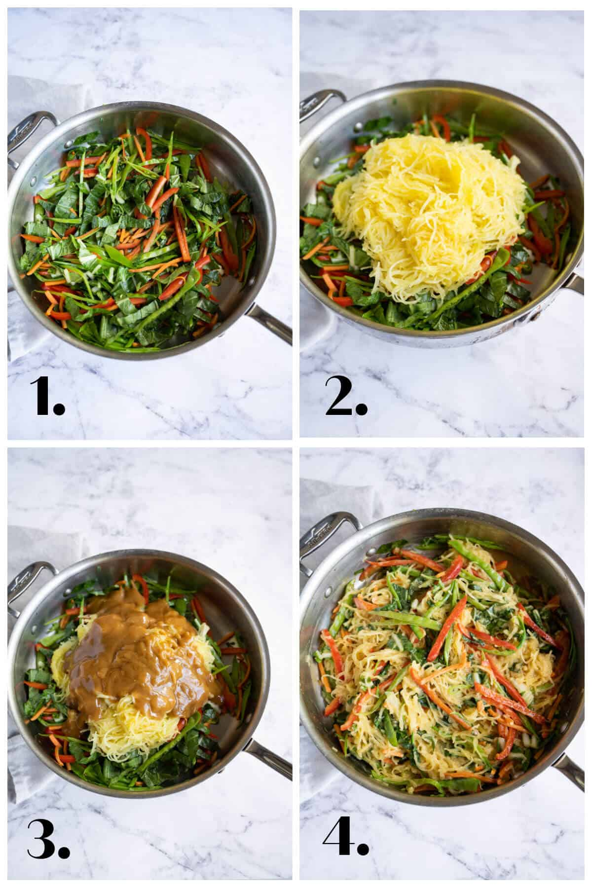 4 picture collage describing the steps to making asian spaghetti squash. 1. saute' vegetables; 2. add spaghetti squash noodles; 3. add sauce; 4. toss to coat.