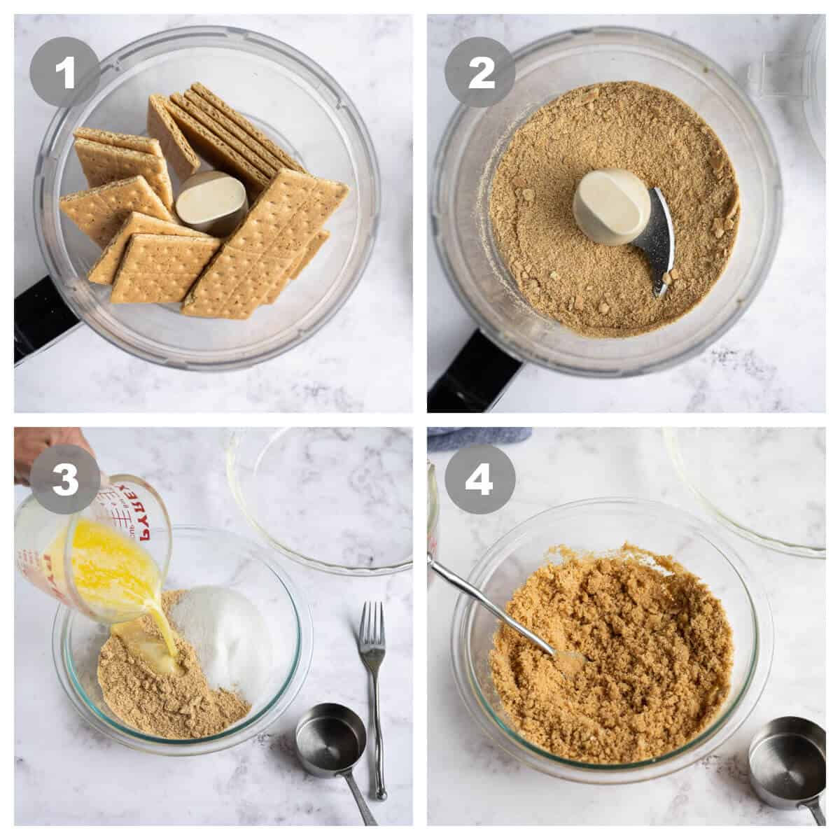4 picture collage with instructions for making a graham cracker crust