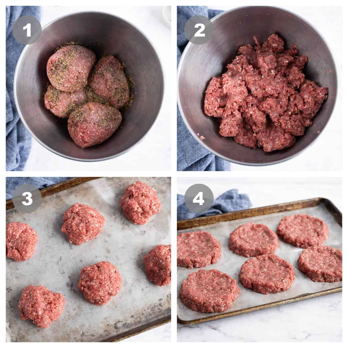 4 picture collage showing ground beef and seasonings before and after mixing, and raw meat portioned, then formed into patties