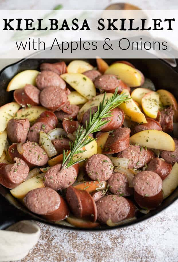 When the weather begins to turn and one-skillet meals are back on the menu, I absolutely recommend my Kielbasa Skillet recipe! If you are looking for a recipe that is flavorful, quick to make, and totally customizable, this is the perfect one.This one-pan kielbasa dinner with apples and onions is packed with savory goodness, natural ingredients, and only 20 minutes total! via @artfrommytable